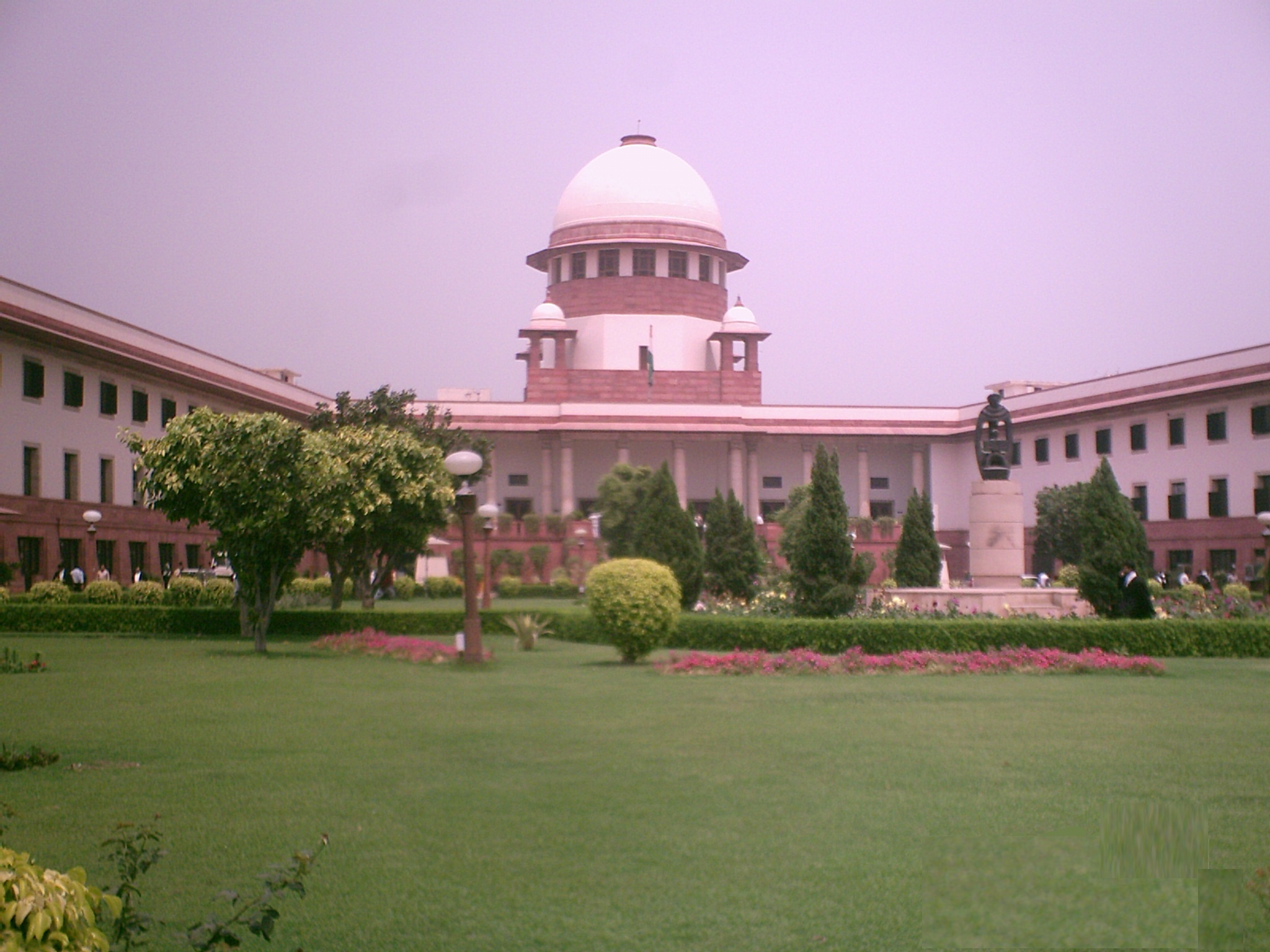 The Supreme Court of India, photographed about 170 metres from the main building outside the perimeter wall.