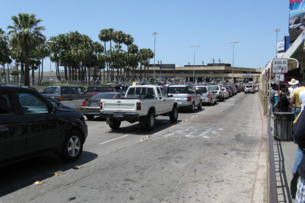 Cars waiting to cross the border