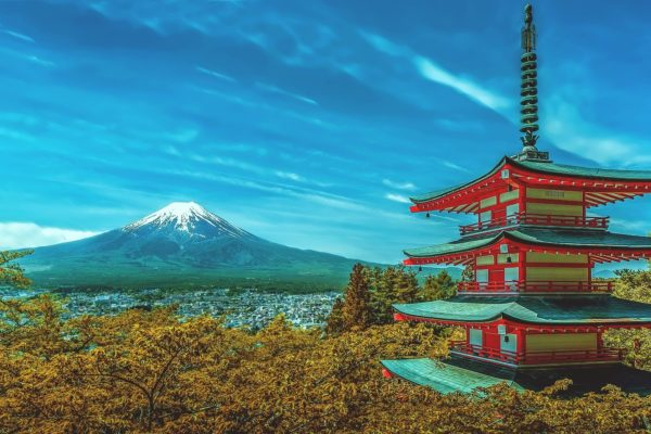 Pagoda and Mt Fuji, blockchain content distribution