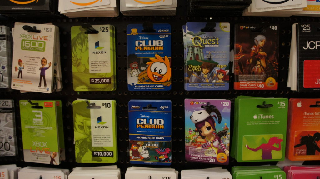 A wall of gift cards.