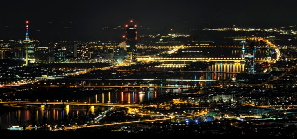 Danube River in Vienna at night.