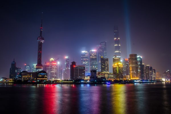 A skyline photo of Shanghai.