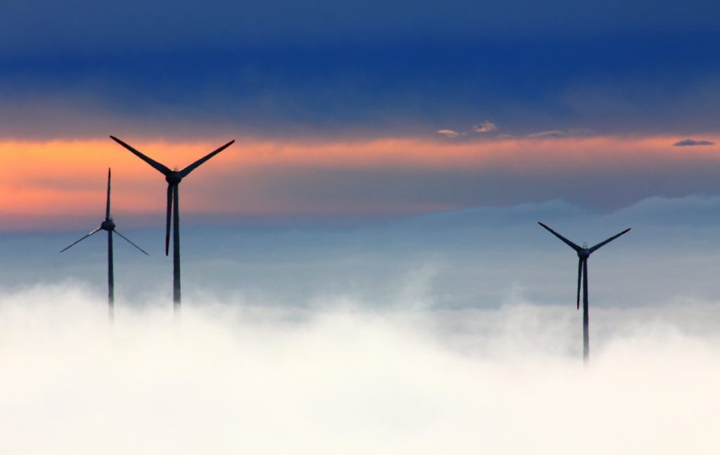 Wind farm in the clouds